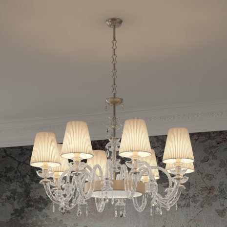 LAMPADARIO dalle ampie braccia in vetro di Murano soffiato a mano, paralume in tessuto e illumnazione a LED: Intrecci 1300/