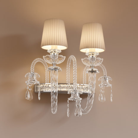 APPLIQUE dalle ampie braccia in vetro di Murano soffiato a mano, paralume in tessuto e illumnazione a LED: Intrecci 1300/APP
