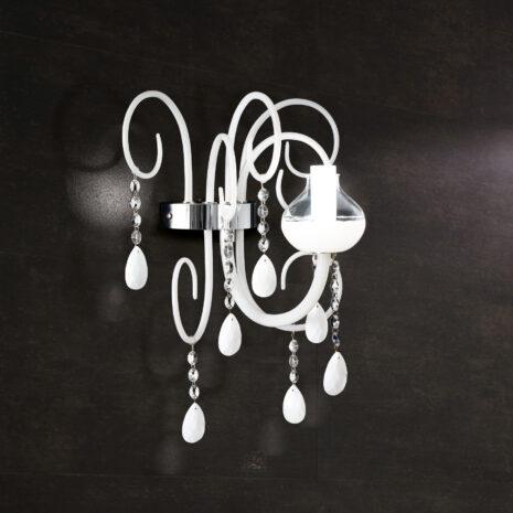 APPLIQUE dalle ampie braccia in vetro di Murano soffiato a mano, pastorali in vetro e pendagli in cristallo sfaccettato: Intrecci 2082/APP1
