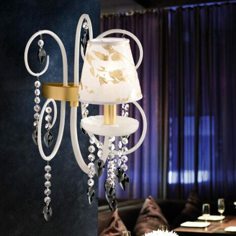 APPLIQUE dalle ampie braccia in vetro di Murano soffiato a mano, pastorali in vetro, pendagli in cristallo sfaccettato e paralumi in svariati tessuti: Intrecci 2085/APP/5-7-9