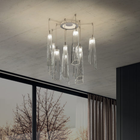 SOSPENSIONE con diffusore in vetro soffiato di Murano fatto a mano disponbile in quattro colori sfumati: Crypto 294/S