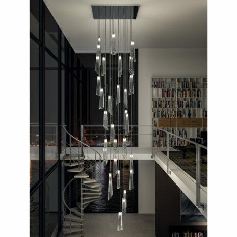 SOSPENSIONE con diffusore in vetro soffiato di Murano fatto a mano disponbile in quattro colori sfumati: Crypto 297/S
