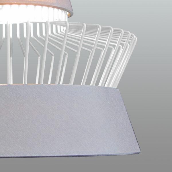 SOSPENSIONE con paralume in tessuto e gabbia decorativa in finitura rame, bianco opaco o nero opaco: Mexican 313/S
