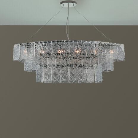 SOSPENSIONE con piastre martellate in vetro di Murano disponbili in tre colori, montatura in cromo lucido o oro 24 carati: Glace 4100/S