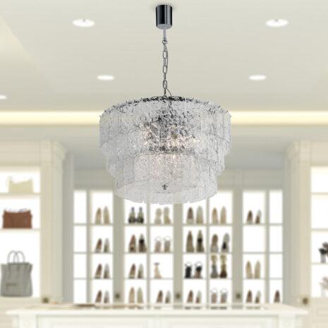 LAMPADARIO con piastre martellate in vetro di Murano disponbili in tre colori, montatura in cromo lucido o oro 24 carati: Glace 4110/S