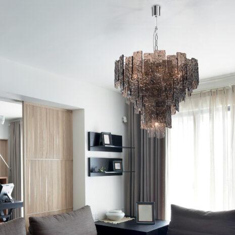LAMPADARIO con piastre martellate in vetro di Murano disponbili in tre colori, montatura in cromo lucido o oro 24 carati: Glace 4115/S