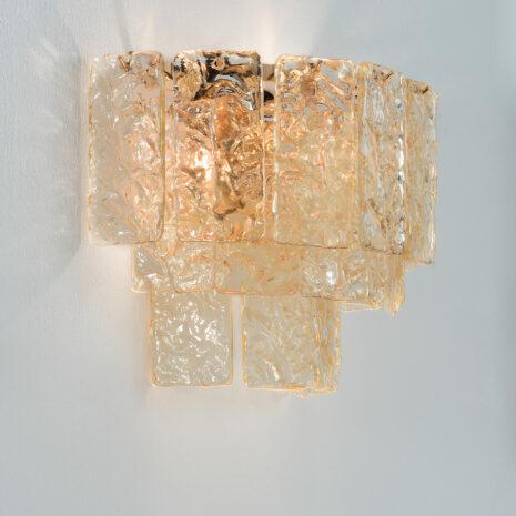 APPLIQUE con piastre martellate in vetro di Murano disponbili in tre colori, montatura in cromo lucido o oro 24 carati: Glace 4117/APP