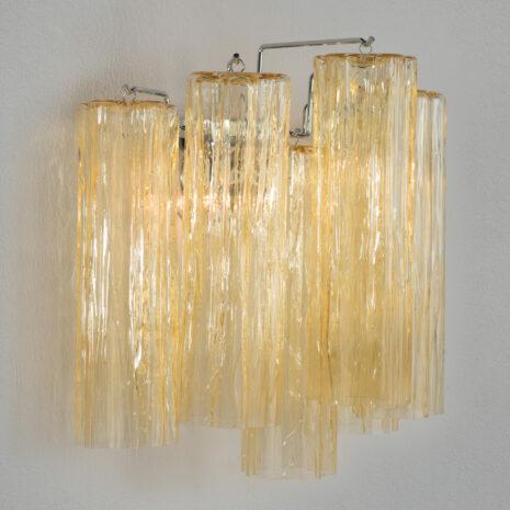 APPLIQUE in vetro di Murano soffiato con finitura a corteccia, disponbile in quattro colori, montatura in cromo lucido o oro 24 carati: Glace 4160/APP