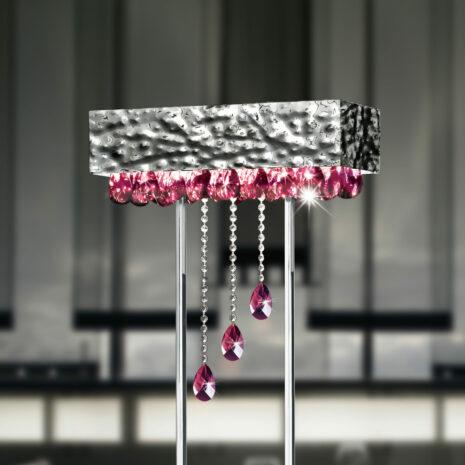 LAMPADA DA TERRA con struttura in metallo martellato e gocce di cristallo colorato: Magma 450/LT