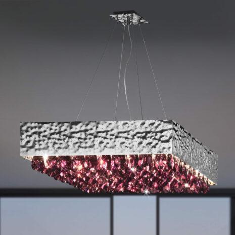 SOSPENSIONE con struttura in metallo martellato e gocce di cristallo colorato: Magma 450/S