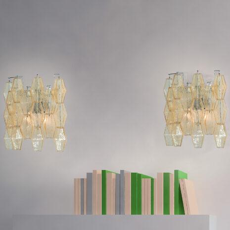 APPLIQUE in vetro di Murano soffiato disponbile in cinque diversi colori, anche combinabili, montatura in cromo lucido o oro 24 carati: Glace 4610/APP