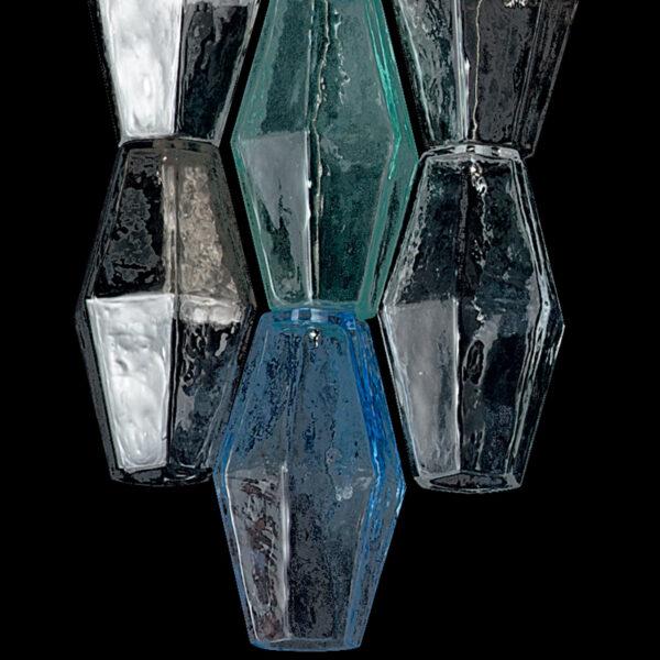 SOSPENSIONE in vetro di Murano soffiato disponbile in cinque diversi colori, anche combinabili, montatura in cromo lucido o oro 24 carati: Glace 4615/S