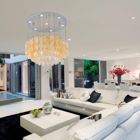 SOSPENSIONE in vetro di Murano soffiato disponbile in cinque diversi colori, anche combinabili, montatura in cromo lucido o oro 24 carati: Glace 4620/