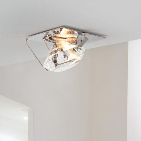 FARETTO con struttura a diamante in cristallo purissimo, montatura in acciaio inox lucido: Spot Lights 462/F