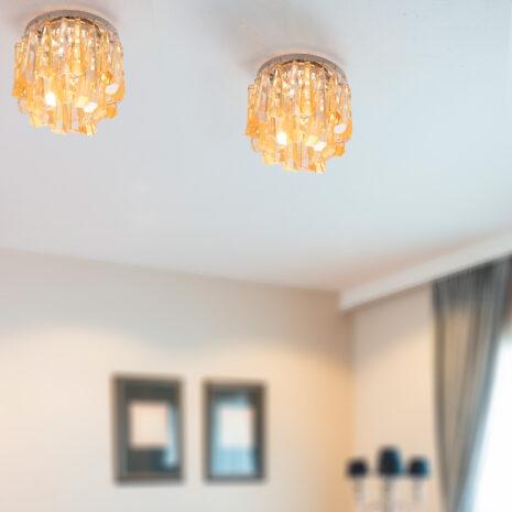 FARETTO pendenti in cristallo purissmo trasparenti o ambra, montatura in cromo lucido o oro 24 carati: Spot Lights 463/F
