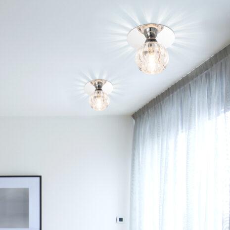 FARETTO con struttura a sfera in vetro trasparente, montatura in cromo lucido o oro 24 carati: Spot Lights 464/F