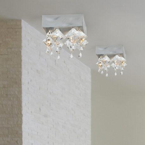 FARETTO con pendenti in cristallo purissimo 36 facce, montatura foglia oro o foglia argento: Spot Lights 465/F