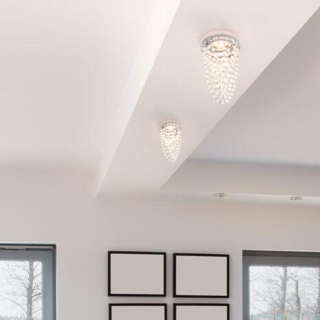 FARETTO con catene di perle in cristallo trasparente, montatura in cromo lucido o oro 24 carati: Spot Lights 466/F