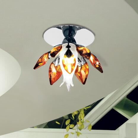 FARETTO con struttura oro lucido 24 carati o cromo lucido e gocce di cristallo colorato : Spot Lights 470/F