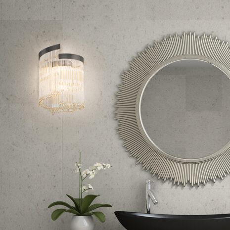 APPLIQUE con frangia lavorata a mano fatta di perline in vetro di Murano trasparenti e/o ambra, montatura in bronzo, tortora o grigio: Venezia 4800/APP