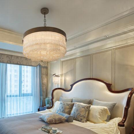SOSPENSIONE con frangia lavorata a mano fatta di perline in vetro di Murano trasparenti e/o ambra, montatura in bronzo, tortora o grigio: Venezia 4800/S