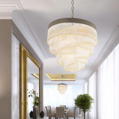 SOSPENSIONE con frangia lavorata a mano fatta di perline in vetro di Murano trasparenti e/o ambra, montatura in bronzo, tortora o grigio: Venezia 4805/S