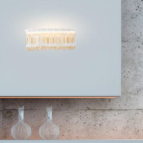 APPLIQUE con frangia lavorata a mano fatta di perline in vetro di Murano trasparenti e/o ambra, montatura in bronzo, tortora o grigio: Venezia 4820/APP