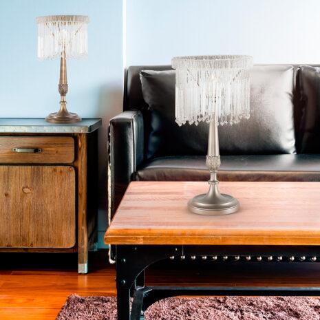 LAMPADA DA TAVOLO con frangia lavorata a mano fatta di perline in vetro di Murano trasparenti e/o ambra, montatura in bronzo, tortora o grigio: Venezia 4820/LP