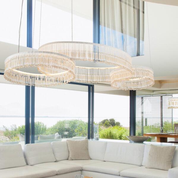 SOSPENSIONE con frangia lavorata a mano fatta di perline in vetro di Murano trasparenti e/o ambra, montatura in bronzo, tortora o grigio: Venezia 4825/S