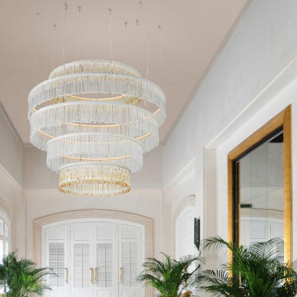 SOSPENSIONE con frangia lavorata a mano fatta di perline in vetro di Murano trasparenti e/o ambra, montatura in bronzo, tortora o grigio: Venezia 4827/S