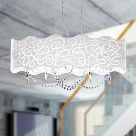 SOSPENSIONE in vetro curvo bianco latte inciso e struttura in finitura foglia oro o foglia arento e pendenti in cristallo Swarovski: Marea 490/S