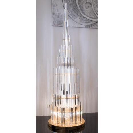 LAMPADA DA TERRA con triedri in cristallo trasparente, montatura in cromo lucido o oro 24 carati: Cristalli 5004/LT