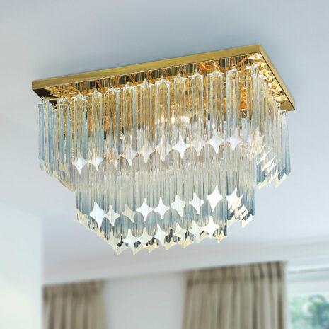 PLAFONIERA con triedri in cristallo o triedri e quadriedri in vetro di Murano, disponbili in molti colori, montatura in cromo lucido o oro 24 carati: Cristalli 5045/PL