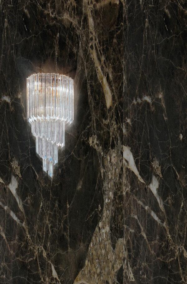 APPLIQUE con triedri in cristallo o triedri e quadriedri in vetro di Murano, disponbili in molti colori, montatura in cromo lucido o oro 24 carati: Cristalli 5070/APP