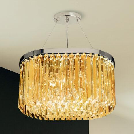 SOSPENSIONE con triedri in cristallo o triedri e quadriedri in vetro di Murano, disponbili in molti colori, montatura in cromo lucido o oro 24 carati: Cristalli 5078/S