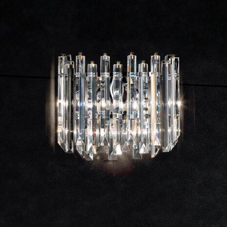 APPLIQUE con triedri in cristallo trasparente, montatura in cromo lucido o oro 24 carati: Cristalli 5082/APP