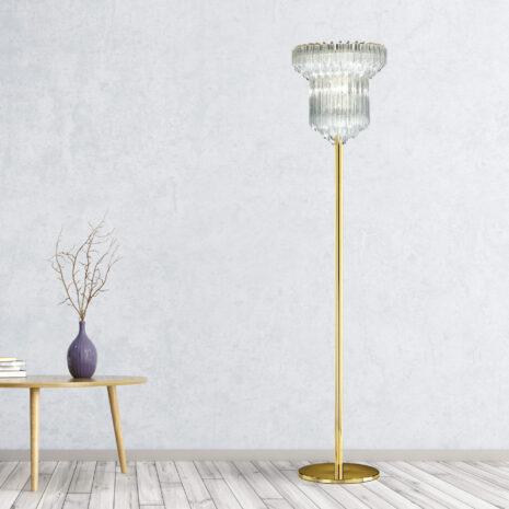 LAMPADA DA TERRA con triedri in cristallo o triedri e quadriedri in vetro di Murano, disponbili in molti colori, montatura in cromo lucido o oro 24 carati: Cristalli 5090/LT