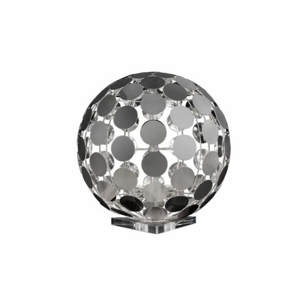 LAMPADA DA TERRA con decine di piccoli dischetti metallici saldati tra loro in oro lucido 24 carati o cromo lucido: Sfera 512/LT