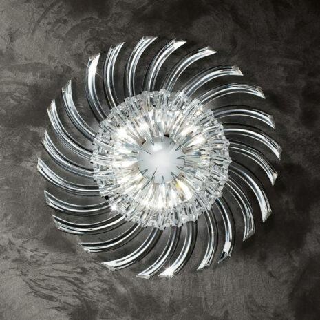 PLAFONIERA in vetro di Murano curvato a sezione triangolare disponibile in quattro differenti colori: Rondo' 522/PL