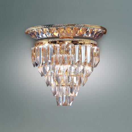 APPLIQUE con triedri in cristallo o triedri e quadriedri in vetro di Murano, disponbili in molti colori, montatura in cromo lucido o oro 24 carati: Cristalli 6026/APP
