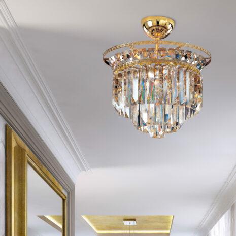 PLAFONIERA con triedri in cristallo o triedri e quadriedri in vetro di Murano, disponbili in molti colori, montatura in cromo lucido o oro 24 carati: Cristalli 6026/PL