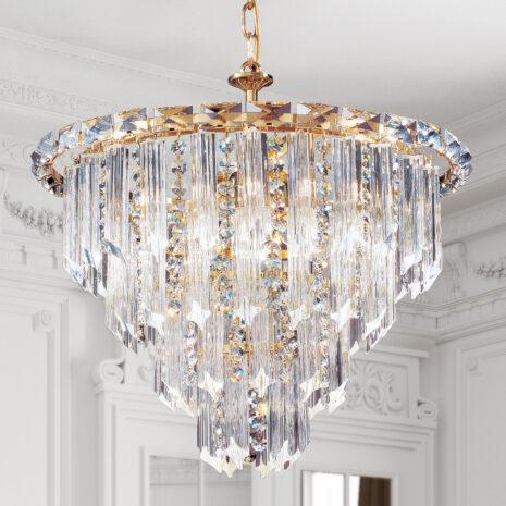 LAMPADARIO con triedri in cristallo o triedri e quadriedri in vetro di Murano, disponbili in molti colori, montatura in cromo lucido o oro 24 carati: Cristalli 6030/