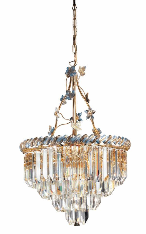 LAMPADARIO con triedri in cristallo o triedri e quadriedri in vetro di Murano, disponbili in molti colori, montatura in cromo lucido o oro 24 carati: Cristalli 6035/