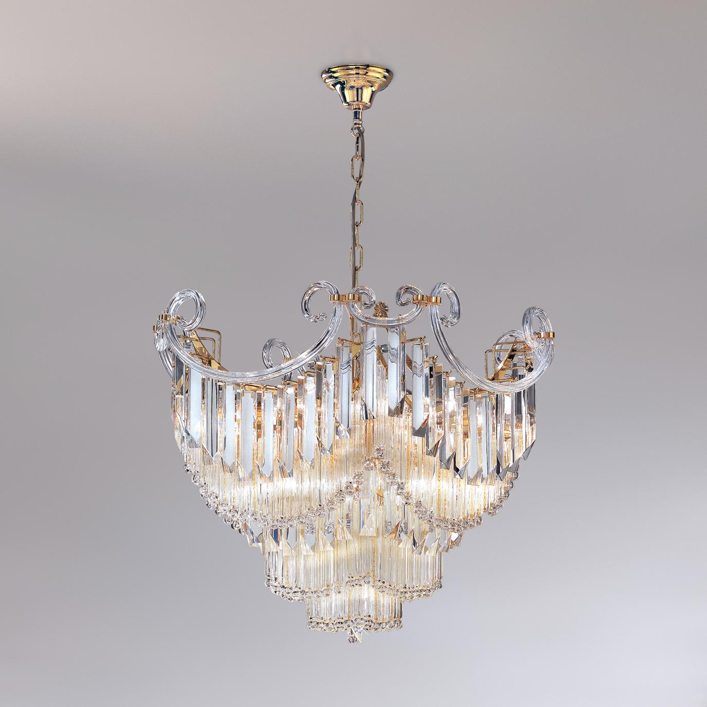 LAMPADARIO con triedri in cristallo o triedri e quadriedri in vetro di Murano, disponbili in molti colori, montatura in cromo lucido o oro 24 carati: Cristalli 6038/70