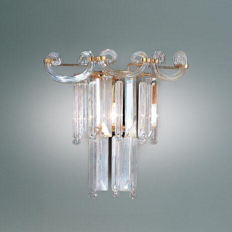 APPLIQUE con triedri in cristallo o triedri e quadriedri in vetro di Murano, disponbili in molti colori, montatura in cromo lucido o oro 24 carati: Cristalli 6038/APP