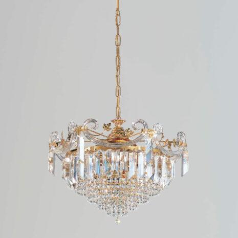 LAMPADARIO con triedri in cristallo o triedri e quadriedri in vetro di Murano, disponbili in molti colori, montatura in cromo lucido o oro 24 carati: Cristalli 6039/
