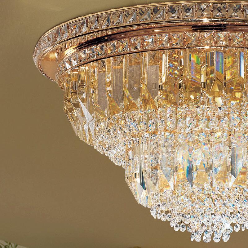 PLAFONIERA con triedri in cristallo o triedri e quadriedri in vetro di Murano, disponbili in molti colori, montatura in cromo lucido o oro 24 carati: Cristalli 7031/PL