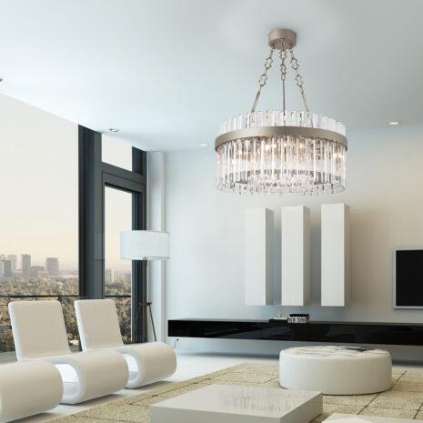 SOSPENSIONE con aste di forma romboidale in cristallo trasparente, montatura bronzo, tortora o grigio: Riflessi 7200/S
