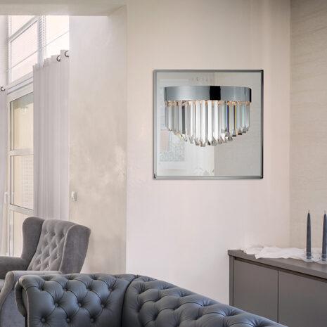 APPLIQUE con triedri in cristallo trasparente, montatura in cromo lucido tortora, specchio in acciaio inox: Riflessi 7400/APP2