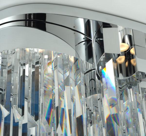 PLAFONIERA con triedri in cristallo trasparente, montatura in cromo lucido o oro 24 carati: Riflessi 7405/PL
